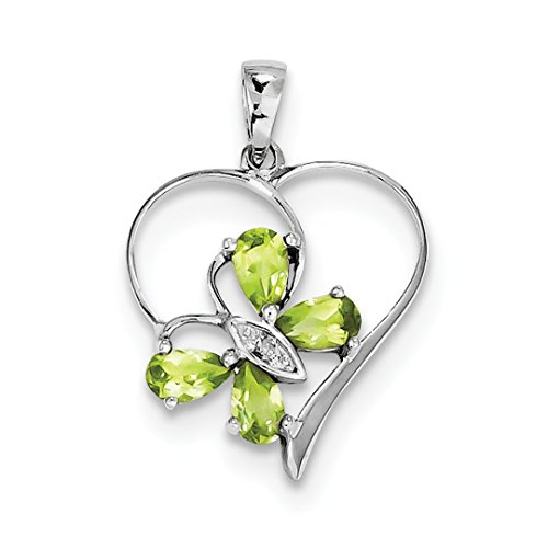 ICE CARATS 925 Sterling Silver Green Peridot Diamond Butterfly Heart Pendant Charm Necklace Gemstone Love Fine Jewelry Ideal Gifts For Women Gift Set From (Silver Butterfly Heart)