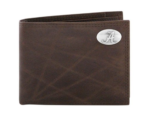 - NCAA Alabama Crimson Tide Brown Wrinkle Leather Bifold Concho Wallet, One Size