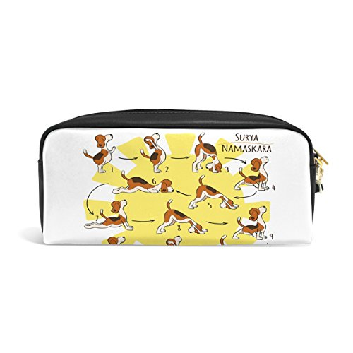 ZZKKO Funny Yoga Dog Leather Zipper Pencil Case Pen Stationary Bag Cosmetic Makeup Bag Pouch Purse