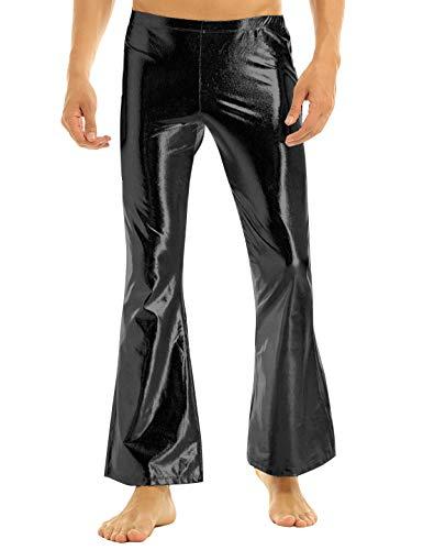iEFiEL Adult Men's Shiny Metallic 70's Disco Dude Pants Leisure Long Pants Flared Bell Bottom Trousers Costume Black ()