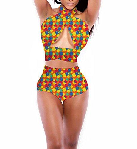 Traje de baño de las señoras Moda traje de baño correas de impresión de alta cintura bikini dividido spa traje de baño playa Bikini D