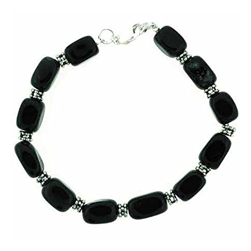 (Glitzs Jewels Sterling Silver Genuine Onyx Nugget & Bali Bead Bracelet, 7.5)