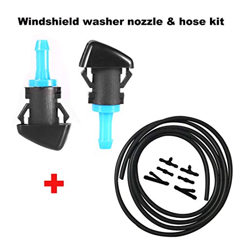 (ZHParty WINDSHIELD WASHER WIPER NOZZLE SPRAYER with Connector & (7Ft Long) Hose kit Direct Replacement for CHRYSLER, DODGE, RAM TRUCK, JEEP-Replaces OEM # 5116079AA, 4805742AB, 68024312AB, 55077460AA )