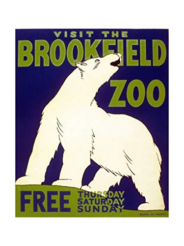 ArtEdge Poster Advertising Brookfield Zoo in Chicago, Illinois, 1938, Giclee Print, 18 x 24 in -