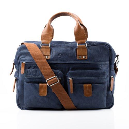 BACCINI bolso de viaje DEREK - piel genuina Azul - cartera estilo weekender - bolsa deporte para tablet, iPad, 15', laptop (40 x 27 x 15 cm)