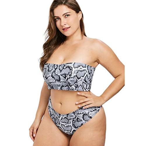 de516f857944 Yii ouneey Women Plus Size Swimwear Two Piece Snake Print Swimsuits High  Cut Bandeau Bikini Sets