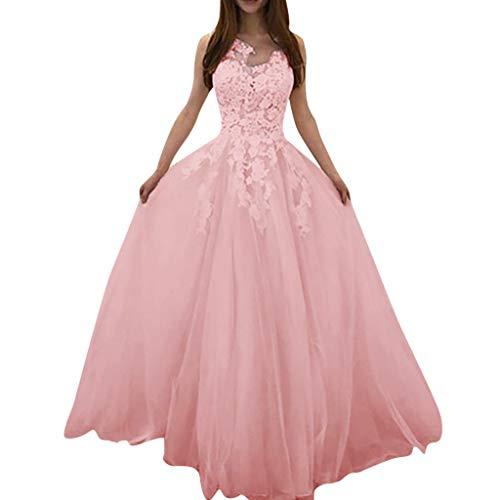 Women's Wedding Dress Floral Lace Wedding V-Neck Sleeveless Evening Dress Elegant Sheer Vintage Long Dress for Bride Pink