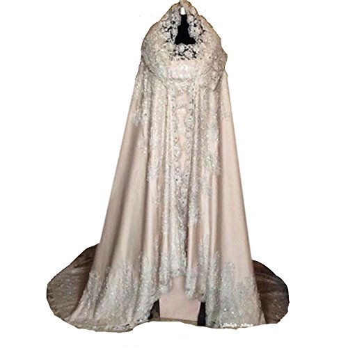 Lavendel Bridal Elegant Women's Satin And Sequins Appliques Bridal Cape Fashion Court Train Wedding Cloak (M, Ivory) by Lavendel Bridal