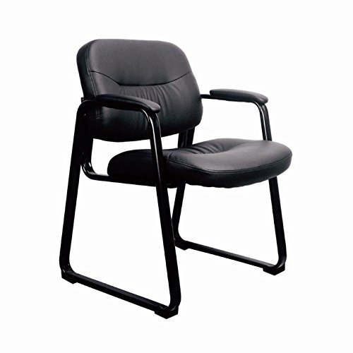 Guest Visitor Side Chair (Essentials by OFM ESS-9015 Leather Executive Side Chair with Sled Base, Black)
