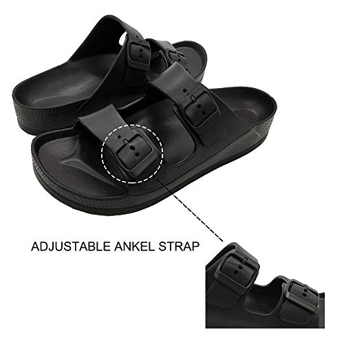 LuffyMomo Adjustable Slip on Eva Double Buckle Slides for Womens Mens (6 B (M) US Women / (Insole Length) 9.45 inch, Black) by LuffyMomo (Image #4)