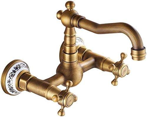 S-TING 蛇口 タップウォールアンティークコッパーヨーロッパ全体の家庭のキッチン盆地タップミキサー実用的なステンレス鋼 水栓金具 立体水栓 万能水栓