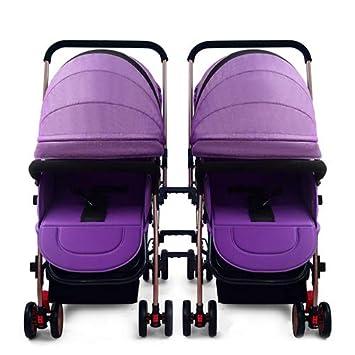 Arriba Cochecito De Bebé Doble Puede Sentarse Amortiguador Desmontable Reclinable Plegable Carro Doble Carroceria Aplicable 0