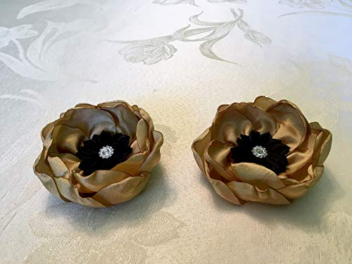 - Mustard Taffeta Fabric Flower Women Brooch Pin, Fabric Flower Pins Dress Sash, Floral Brooch Women or Girl, 4