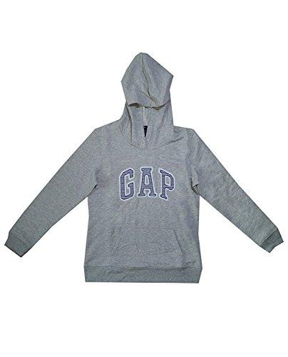 (GAP Womens Fleece Arch Logo Pullover Hoodie (L, Grey Stripes))