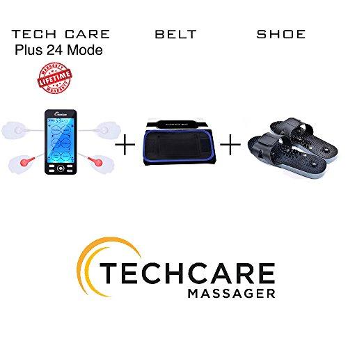 Lifetime Warranty TechCare Plus 24 Modes Tens Unit Massager FDA Cleared Rechargeable Unit Electric Complete Set + Fat Burner Belt + Reflexology Shoes Back Neck Pain Sciatica by TechCare Massagers