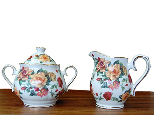 Antique Rose Pattern Fine China Porcelain Sugar & Creamer Set Perfect for Children's Tea Parties