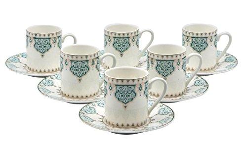 Porcelain Bone China Espresso Turkish Coffee Demitasse Set of 6 Arabesque Pattern Cups + Saucers (Green) ()