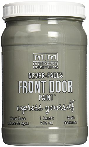 Medium Grey Satin - Modern Masters 275262 Satin Front Door Paint, 1 Quart, Mysterious