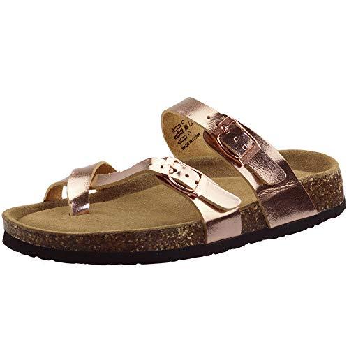 LA PLAGE Girl Women's Adjustable Toe Ring Thong Cork Shoes for Summer 9 US Rose Gold