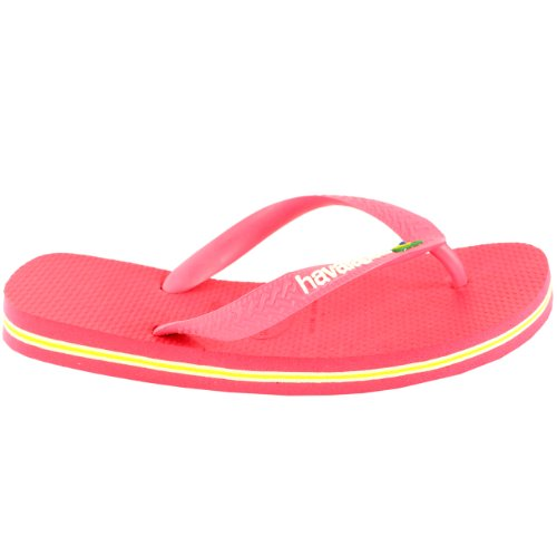 Mujer's Havaianas Logo Slip On Chancletas Summer Beach Sandals New Neon Pink