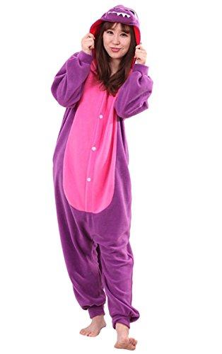 Apiidoo Unisex Dragon Pajama Animal Cosplay One Piece Halloween Costume Jumpsuit Purple M