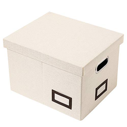 SUPERJARE Updated File Box for Hanging Files | Set of 1 | Storage Office Box with 60 lbs Weight Capacity, Durable MDF Board & Linen Fabric | File Storage Organizer for Letter/Legal | Cream ()