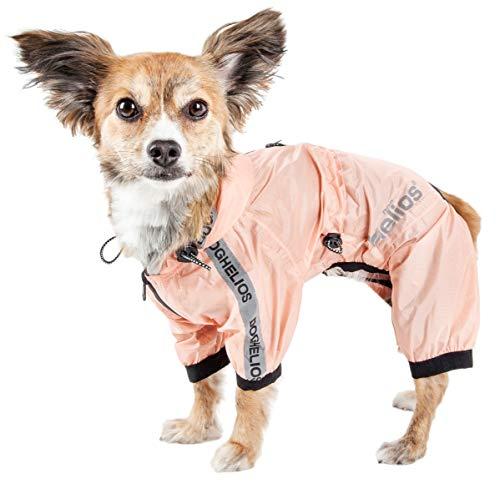 (Dog Helios 'Torrential Shield' Waterproof Multi-Adjustable Full Bodied Pet Dog Windbreaker Raincoat, X-Small, Pink)