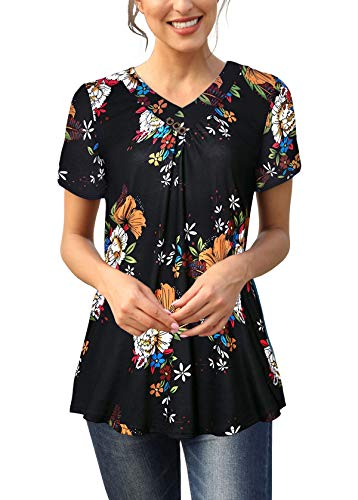 (Womens Floral Printed Tunic Shirts Short Sleeve V Neck Button up Tee Top Black XL)