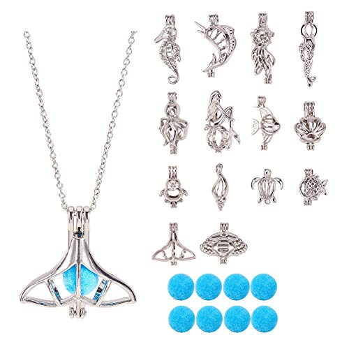 PH PandaHall 14 Styles Hollow Brass Aromatherapy Essential Oil Diffuser Locket Cage Pendant Charms, 14pcs Defusing Balls and 2pcs Stainless Steel Chain for Necklace Bracelet Jewelry ()