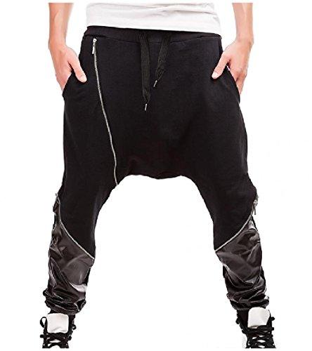Zimaes-Men Leather Patched Zipper Hip-hop Harem Pants Drawst