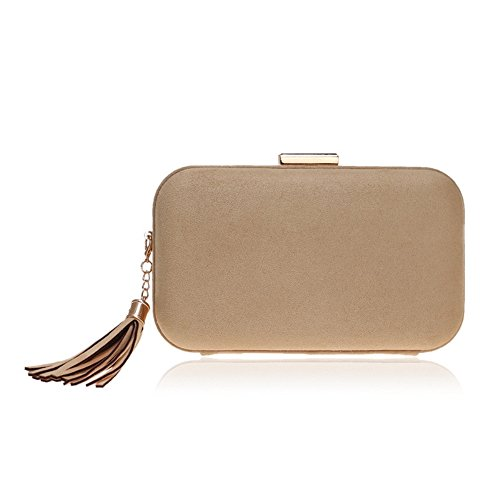 Clutch Gold Leather Fashion GROSSARTIG Dress Evening New Bag Banquet Bag Tassel Evening qgwPO6InxP