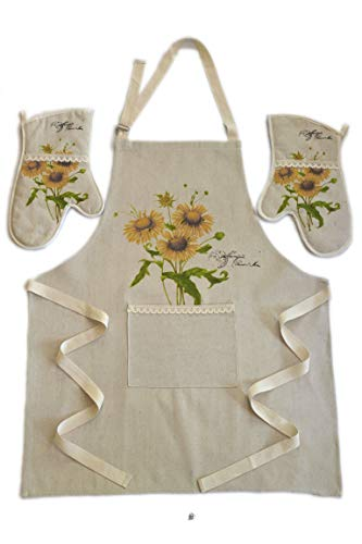 Sunflower Apron - American Chateau Sunflowers Quilted Cotton & Polyester Lace Kitchen Oven Gloves Mitts & Apron Set
