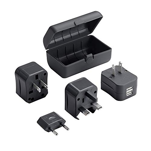 Lewis N Clark Adapter Plug Kit W/ 2.1a Dual USB Charger, Black