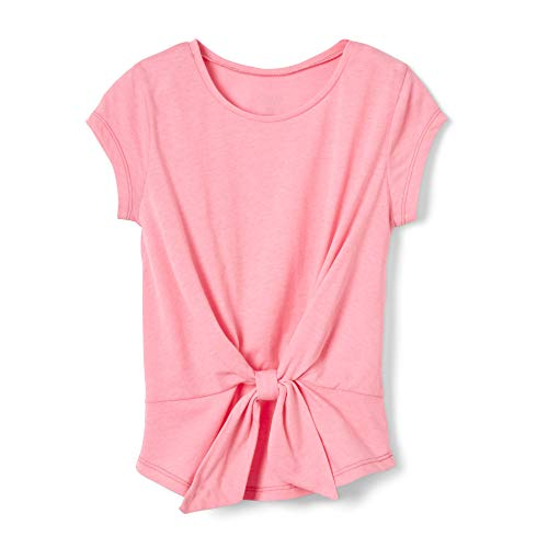 Pink Girls Shirt - French Toast Girls' Big Short Sleeve Tie Front Top Shirt, Pink Pizzazz Heather, M (7/8)