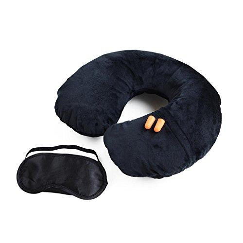 Cuscino da collo - Cuscino gonfiabile da viaggio con coperta nera, mascherina e tappi per orecchi - Supporto da collo per uomini e donne di Globeproof