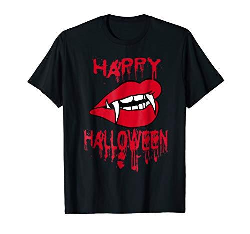 (Happy Halloween Bloody T-Shirt Vampire Lips Teeth Fangs)