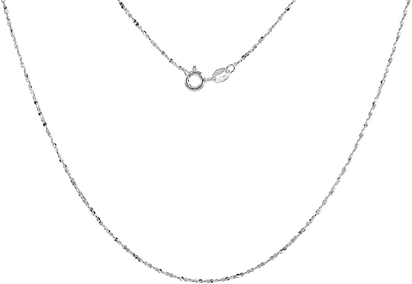 14-36 Inch Sterling Silver 1.1mm Diamond-Cut Rope Chain Necklace Solid Italian Nickel-Free