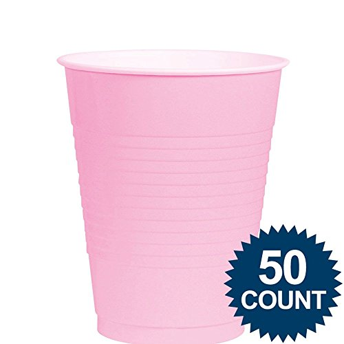 Amscan Big Party Pack 50 Count Plastic Cups, 12-Ounce, New Pink