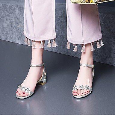 LvYuan sandalias de los zapatos del club primavera verano del zurriago de diamantes de imitación de vestir casual Blue