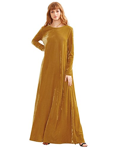 MakeMeChic Women's Elegant Long Sleeve Velvet Loose Maxi Dress Yellow (Womens Dress Up)