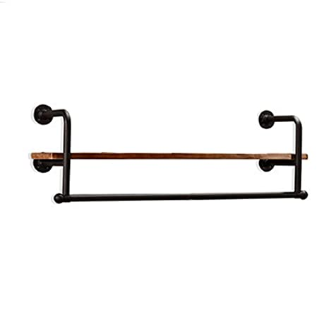 Amazon.com: Perchero retro de pared de metal negro de madera ...