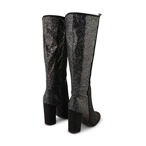 Footwear Sensation - botas altas mujer Black Suede Glitter