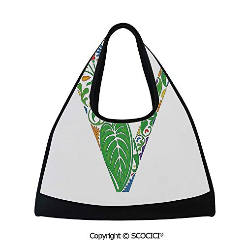 - Fitness bag,Fresh and Floral Alphabet Abstract Colorful Artistic Vintage Font Initials,Bag for Women and Men(18.5x6.7x20 in) Multicolor
