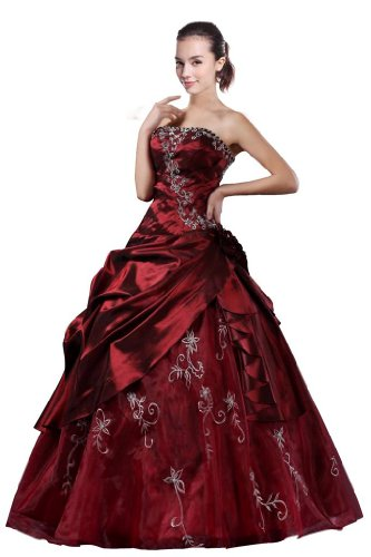 DLFashion Strapless A-line Embroidered Taffeta Prom Dress