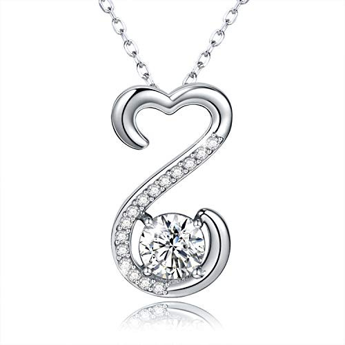 Apotie Heart Necklace Sterling Silver: Cubic Zirconia Necklace Love Pendant Jewelry for Women