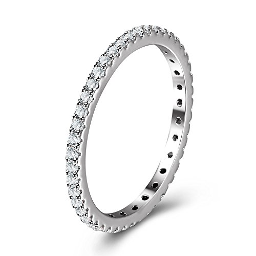 Full Micropave Thin Band Dainty Stacking Ring Wedding Band Rhodium Plating Size 6 (Mens Ring Modern)