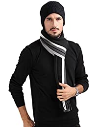 Mens Classic Cashmere Shawl Winter Warm Long Fringe Striped Tassel Scarf
