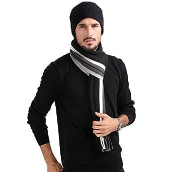 Mansy Mens Classic Cashmere Shawl Winter Warm Long Fringe Striped Tassel Scarf (Black)