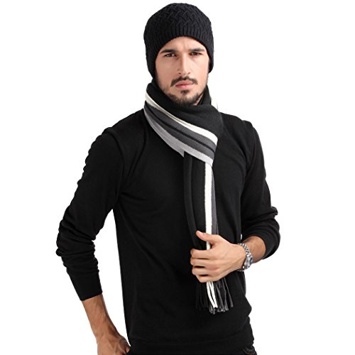 Mansy Mens Classic Cashmere Shawl Winter Warm Long Fringe Striped Tassel Scarf (Black)