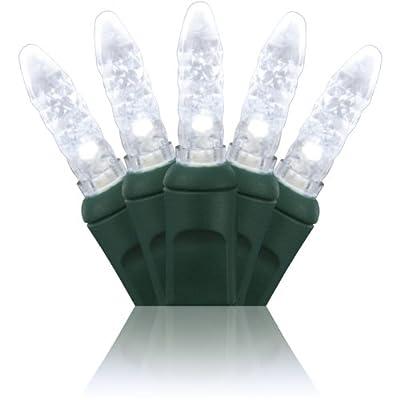 "Holiday Lighting Outlet M5 LED Christmas Mini Lights, Mini Ice, M6, Green Cord, 70LT 4"" Spacing, 23.7'"